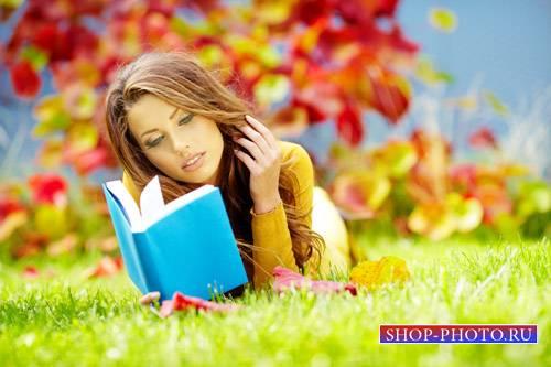 Шаблон для фото - Красочный осенний день с книжкой
