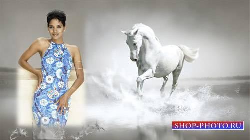 Рамка для фото - Белая лошадь в брызгах воды