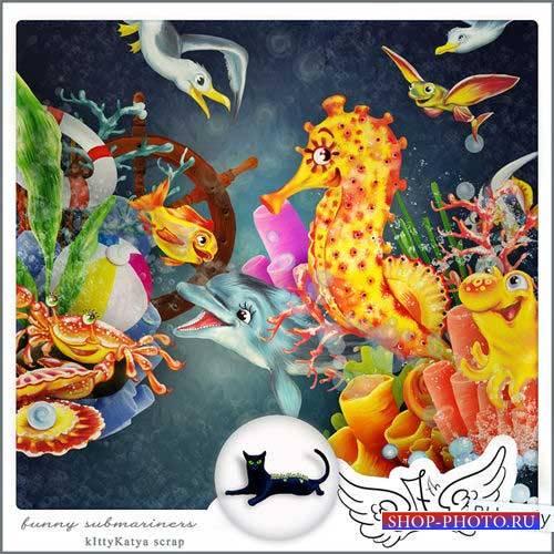 Забавный морской скрап-комплект - Смешные подводники