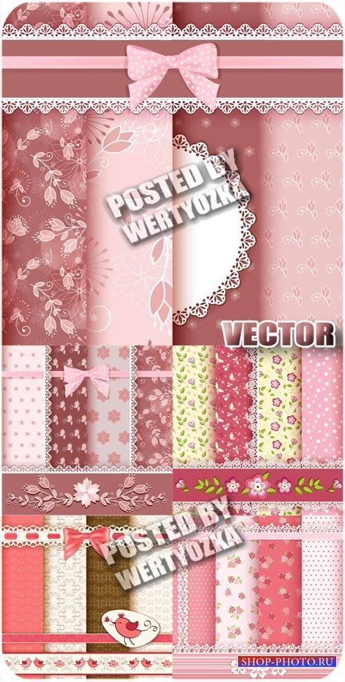 Фоны с листиками и цветочками / Backgrounds with leaves and flowers - stock ...
