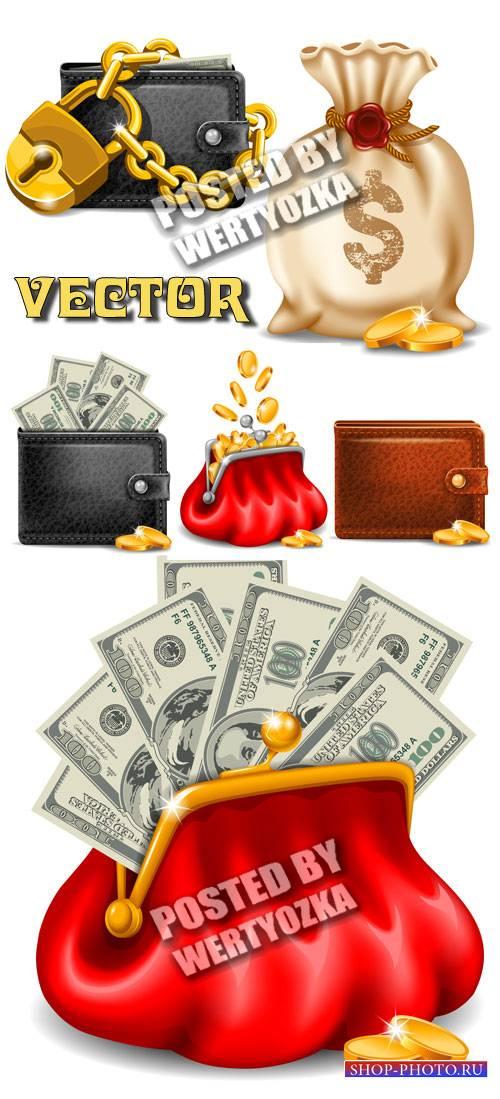 Кошелек с деньгами и золотыми монетами / Purse with money and gold coins -  ...