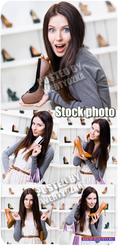 Девушка в обувном магазине / Girl in a shoe store - stock photos