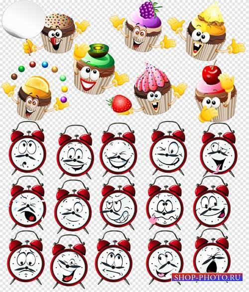 Клипарт - Будильники с десертом и выражением эмоций на прозрачном фоне PSD