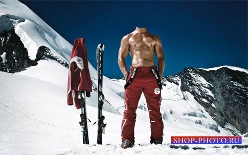 Шаблон для фото - Спортивный лыжный курорт в снежных горах