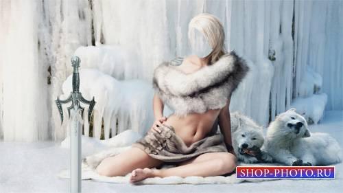 Шаблон для фотошопа - Стройная девушка в мехах среди волков