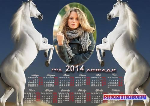 Календарь 2014 - Два игривых жеребца