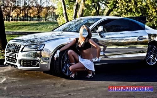 Шаблон женский - Блондинка и шикарное авто