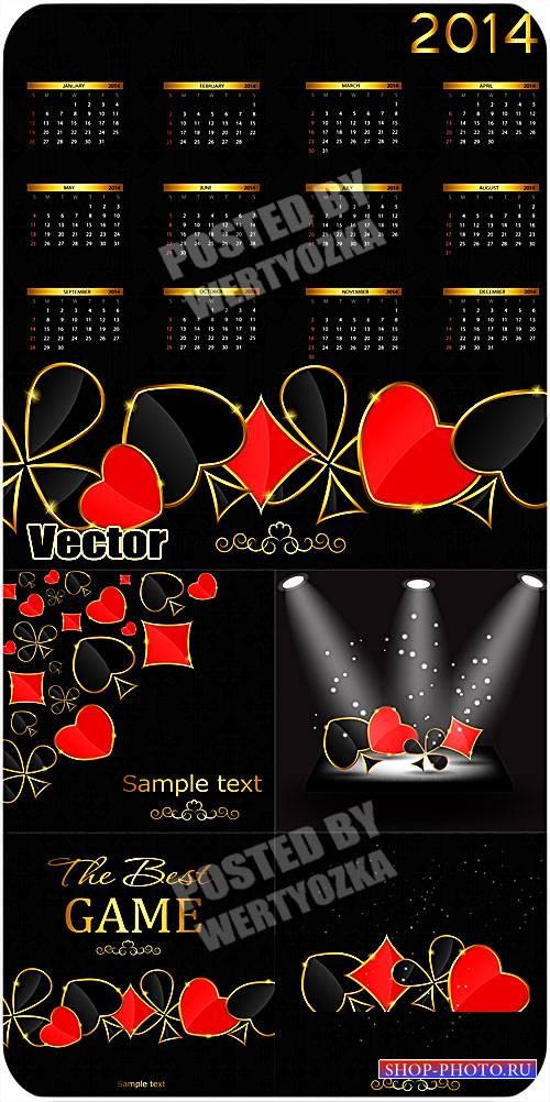 Календарь 2014 с карточными символами / Calendar 2014 with card symbols - v ...