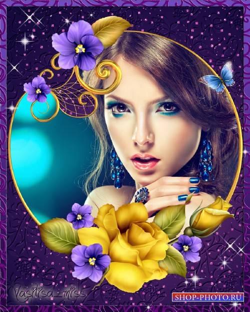 Цветочная рамка - Прекрасная роза ночи с мелкими цветами
