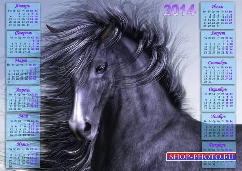 Календарь 2014 - Шикарная лошадь с гривой