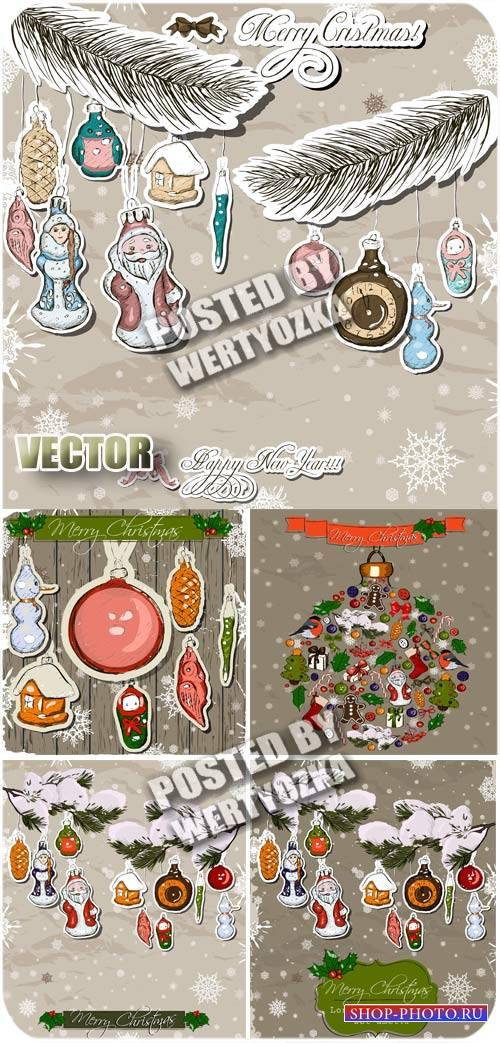 Винтажные новогодние украшения /  Vintage Christmas decorations - stock vec ...