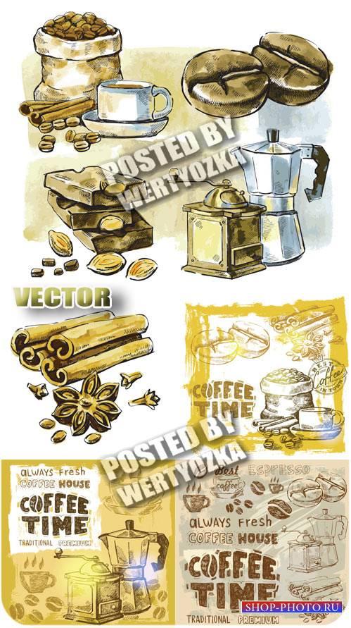 Кофе, кофейные зерна / Coffee, coffee beans - vintage vector