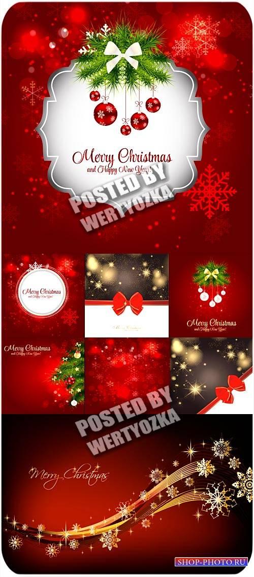 Красные новогодние фоны с елкой и шарами / Red christmas background - vecto ...