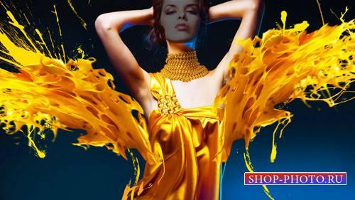 Красивое платье из красок - шаблон женский