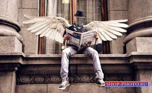 Шаблон для фотошопа - Современный ангел