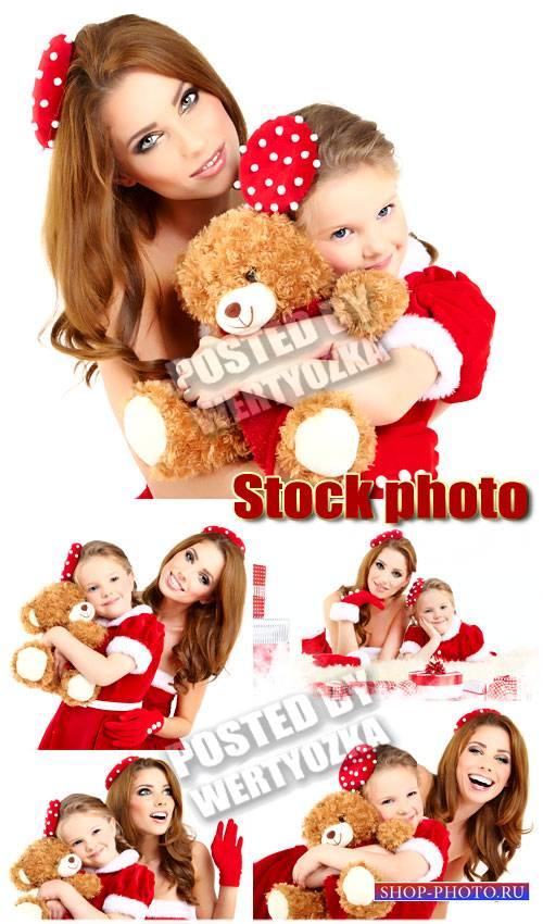 Новогодние женщина с ребенком / Christmas woman with a little girl - stock  ...
