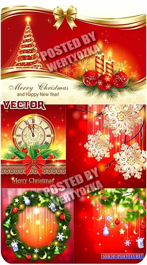 Рождественские фоны с золотой елочкой, курантами и свечами / Christmas back ...