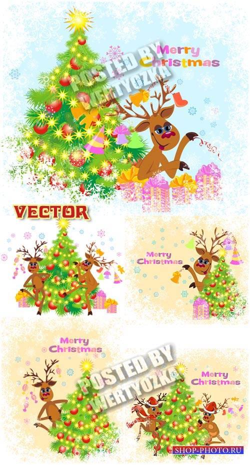 Рождественские олени / Christmas reindeer - stock photos
