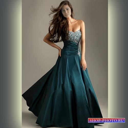 Шаблон для девушек - Девушка в прекрасном платье со стразами