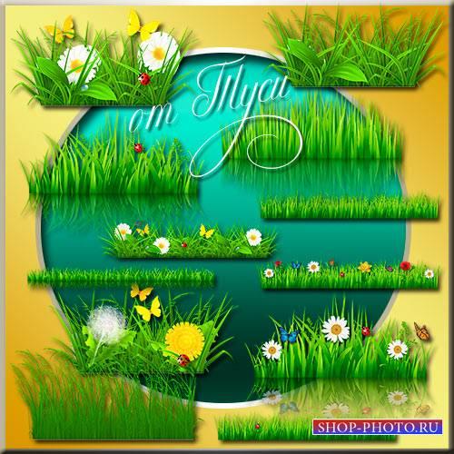 Детский клипарт - Зелёная трава, цветы и бабочки