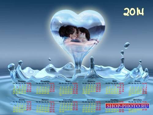 Фоторамка и календарь отдельно - Сердце из воды