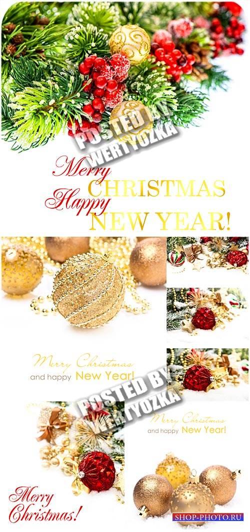 Елка и золотые новогодние шары / Christmas tree and golden christmas balls  ...