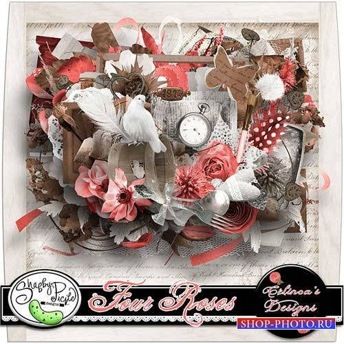Романтический скрап-комплект - Четыре розы