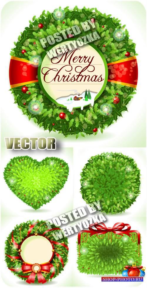 Рождественские венки из елки, сердечко / Christmas wreaths christmas tree,  ...