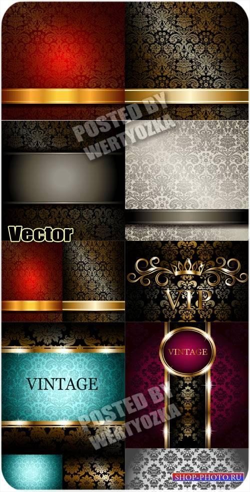 Винтажные векторные фоны с золотым узором / Vintage vector background with  ...