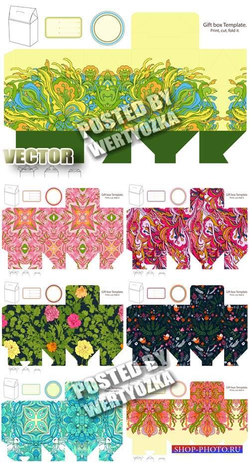 Макеты для коробок с цветочными узорами / Layouts for boxes with floral pat ...