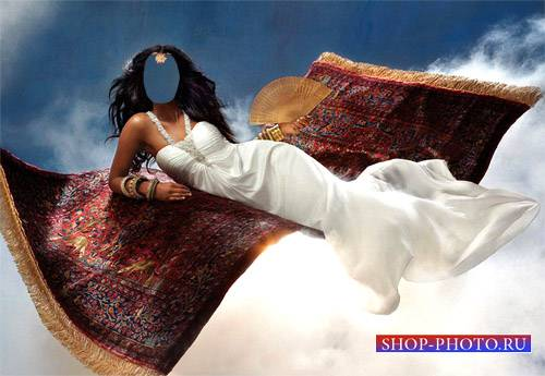 PSD шаблон - Брюнетка в длинном белом платье на ковре самолете