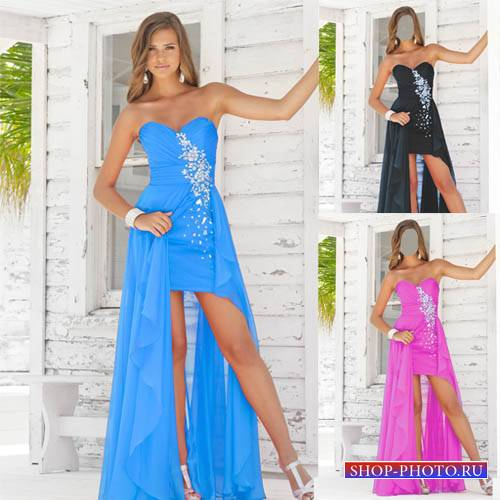 Женский шаблон - Девушка на крыльце в красивом платье