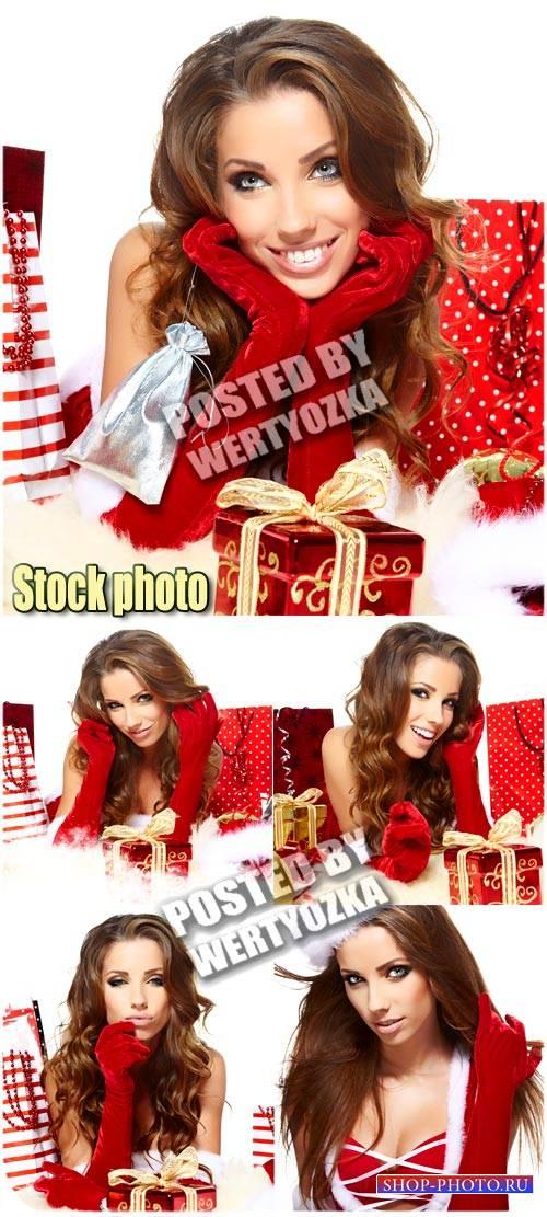 Красивая новогодняя девушка / Beautiful Christmas girl - Stock photo
