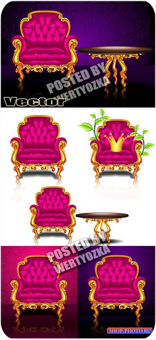 Роскошное кресло / Luxurious arm chair - Stock vector