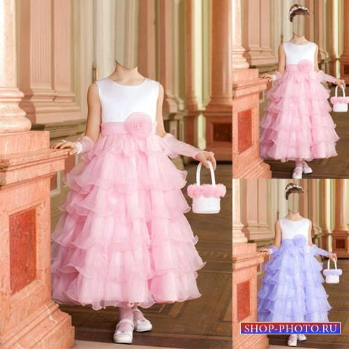 Шаблон для photoshop - Девочка в красивом платье