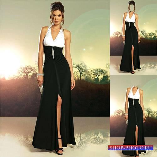 Шаблон женский - В черно-белом вечернем платье