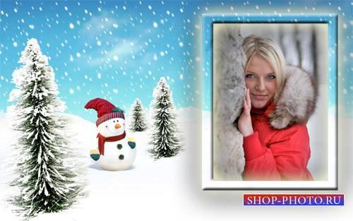 Рамка для фото - Счастливый снеговик в елочках