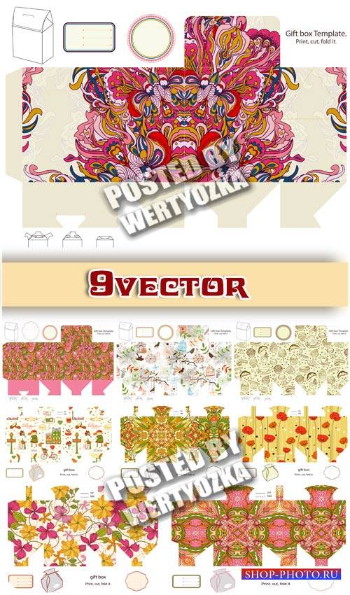 Цветочные макеты для коробок - сток вектор