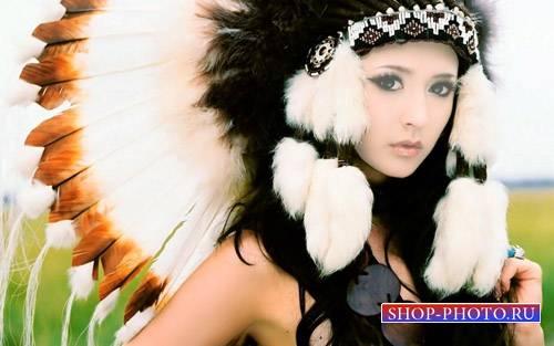 Шаблон для photoshop - Симпатичная брюнетка с перьями