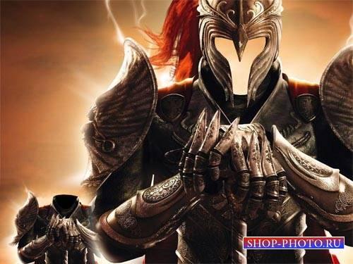 Шаблон psd - Рыцарь в доспехах и шлеме