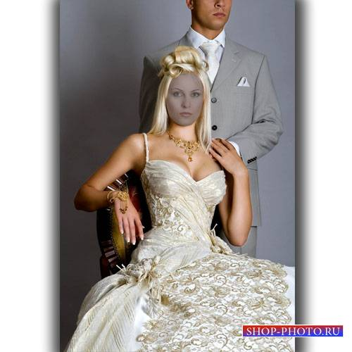 Шаблон для photoshop - Красивая блондинка в платье шампань