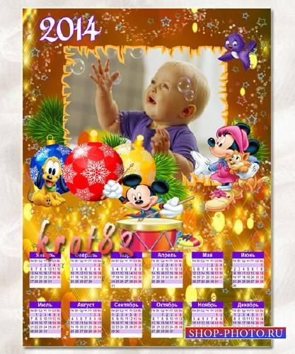 Детский календарь на 2014 год – Микки Маус и его друзья