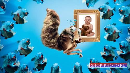 Рамка psd - Веселая белка спасает вашу фотографию