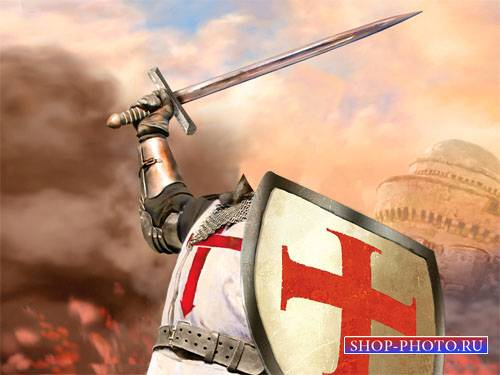 Шаблон для мужчин - Рыцарь в доспехах в бою