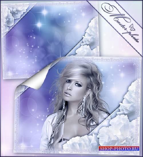 Рамка романтика - Белые гвоздики