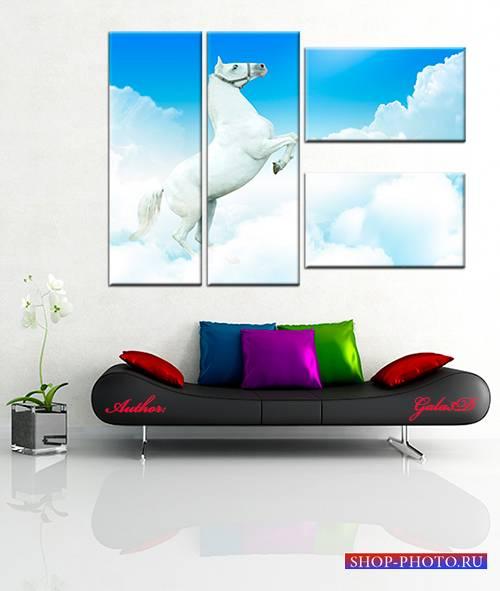Модульная картина - Лошадь на облаках