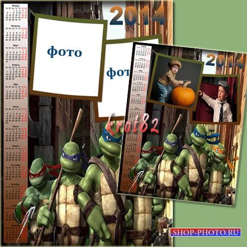 Календарь для мальчика на 2014 год с черепашками ниндзя