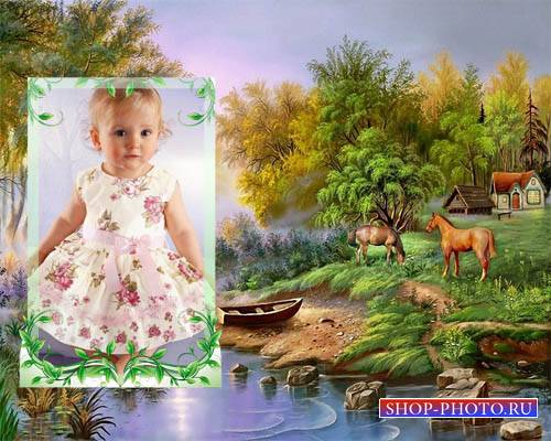 Рамка для фотошоп - Сказочные лошадки на зеленой поляне