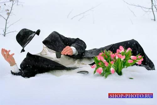 Шаблон для фото - Донжуан с тюльпанами лежа в снегу