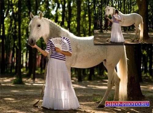 Шаблон для девушек - Фотосессия с красивой лошадкой в сквере